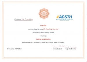 dyplom ukończenia studiów podyplomowych Life Coaching