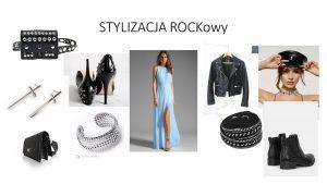 rokowa stylizacja długiej niebieskiej sukni na rockowy look poprzez dodanie cięzkich butów i dodatków o charakterze rockowym